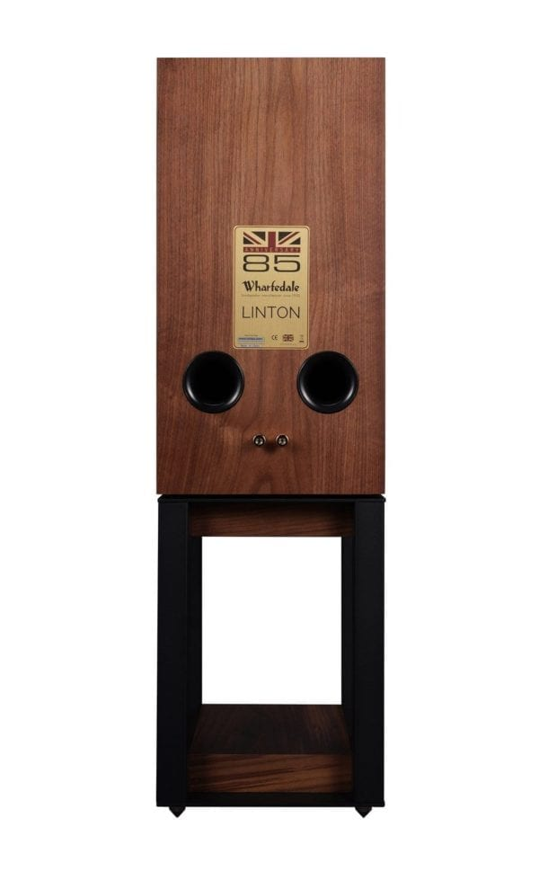 Wharfedale Linton speaker walnut with stand back