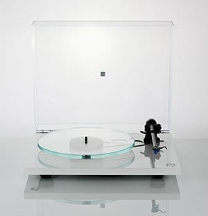 Rega Planar 3 white front with lid up