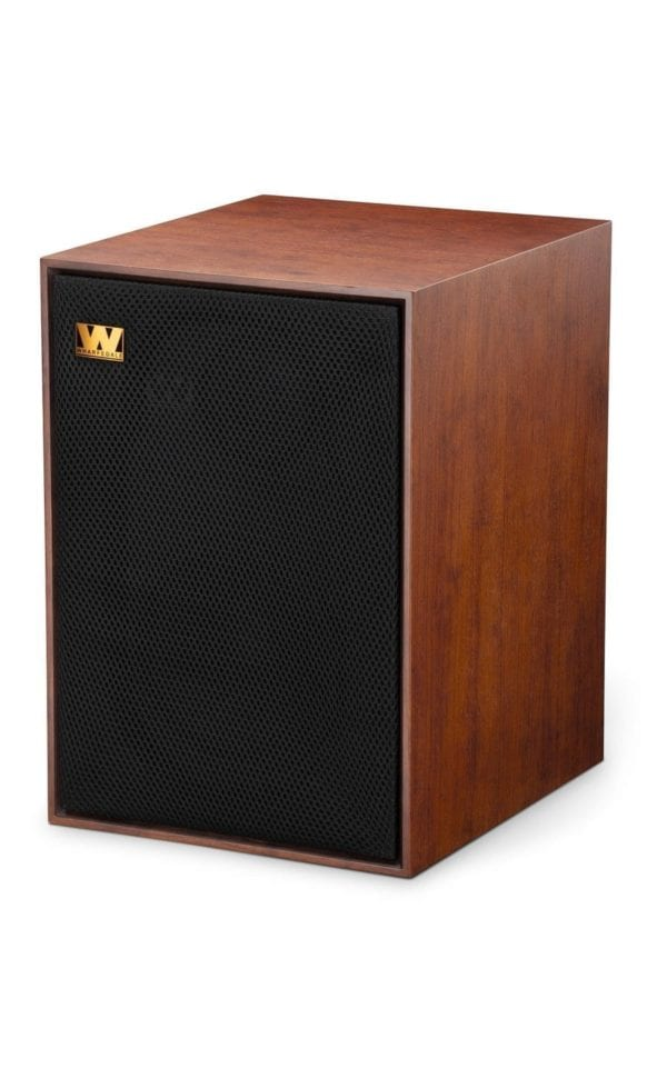 Wharfedale Denton 85th speaker red mahogany side