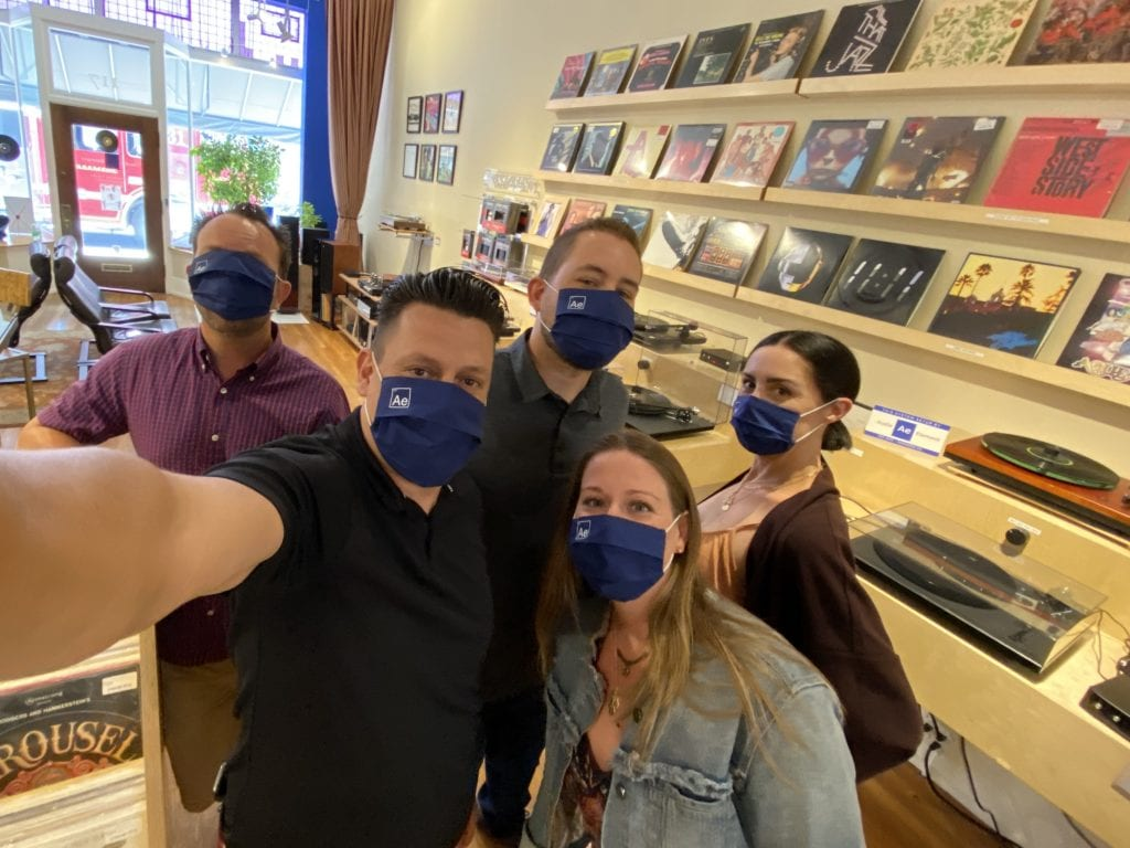 Audio Element staff wearing face masks