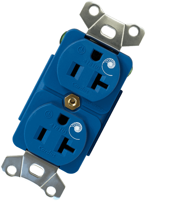 Blue electrical power outlet