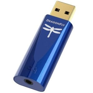 Blue Audioquest dragonfly cobalt cap off